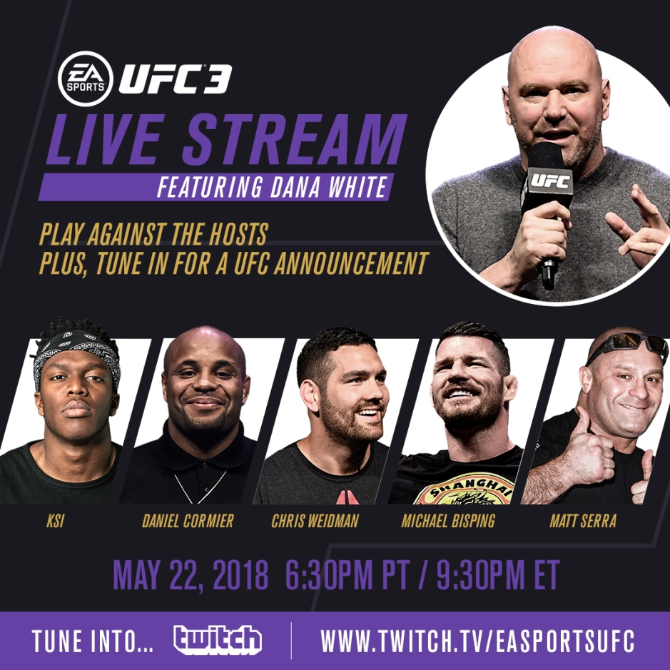 Cage Warriors Live Stream Free: News: Dana White And KSI To Host EA Sports UFC 3 Twitch